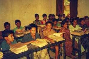 Children studying at a school set up by SERAC in Mymensingh